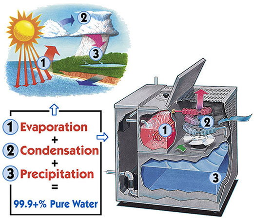 Cross section of water distillation machine